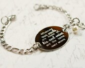 Whatever our souls are made of, Emily Bronte quote, oval bracelet, stainless steel with swarovski crystal or pearl