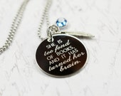 she is too fond of books --- engraved Louisa May Alcott quote necklace