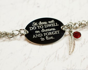 It does not do to dwell on dreams oval bracelet, stainless steel with swarovski crystal or pearl