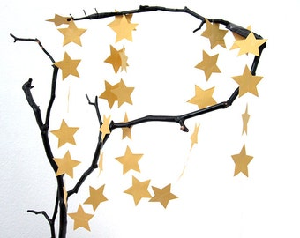 STAR Garland in GOLD, Paper Garland, Wedding Garland, Wedding Decoration, Paper Decoration, Christmas Decoration by renna deluxe