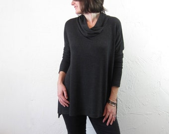 Tunic with Cowl Neck - Charcoal Grey Striped Knit