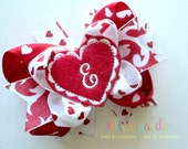 Valentine's Day Monogrammed Initial Personalized Heart Boutique Style Hair Bow Red and White Damask