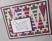 Christmas Card:  Handmade Blank Note Cards - Merry Christmas