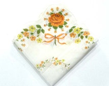 Vintage Peach & Yellow Handkerchief - Rose Flowers - Novelty Spring Hanky