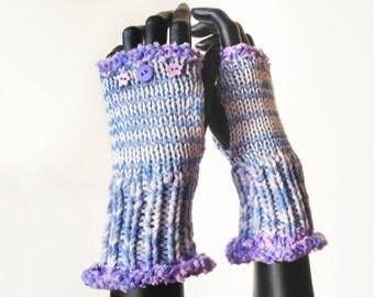 Fingerless Gloves - Cloud Nine Frilly Fingers - Lavender Fingerless Glove Hand Warmer Mittens