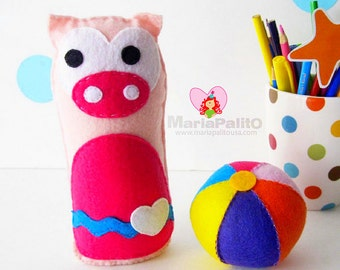 Pig Baby Toy Pattern, Felt Pig Baby + Ball Toy Pattern, Instant Download A1168