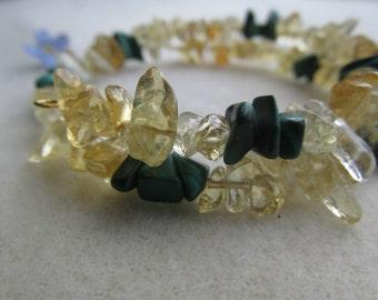 Citrine Bracelet, Malachite Bracelet, Memory Wire Bracelet Prosperity, Healing stones, Malachite, Citrine, Memory Wire, Gemstone Synergy