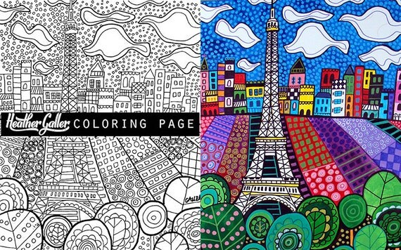 Paris Eiffel Tower Coloring Art Book Adult Pages For Adults