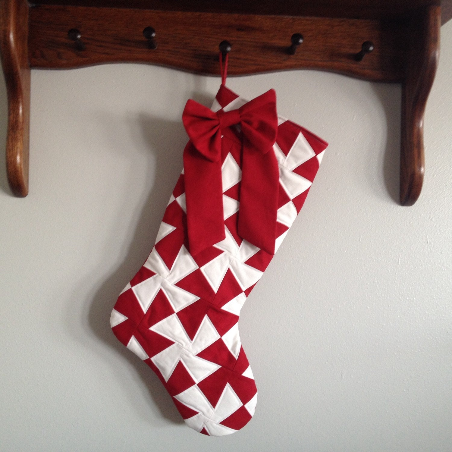 Heirloom Modern Christmas Stocking in Red and by yippeeskippy