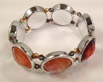 Rust Stretch Bracelet, Burnt Orange Stretch Bracelet