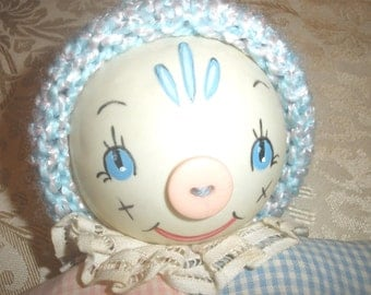old baby rattle vntage Kruegar tagged Doll Rattle 1930-1940 Celluloid cloth clown