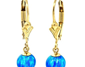 6mm Pacific Blue Opal Ball Drop Lever Back Earrings, 14-20 Gold Filled, Blue Opal Dangle Earrings, Tropical Blue Opal Lever Back Earrings