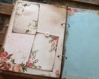 Wedding Guest Book - Handmade Rustic Shabby - Blush and Aqua, Burlap