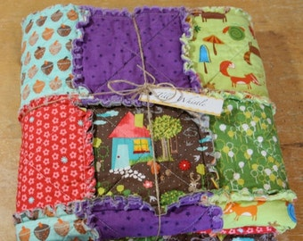 Sale Baby Rag Quilt, Crib Size, Woodland Quilt, Baby Blanket - Ready to ship