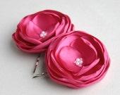 Hot Pink Flower Hair Clips, Pink Bridesmaid Wedding Accessory, Fuschia Flower Fascinator, Flower Hair Pins, Flower Girl, Bridesmaid Clip