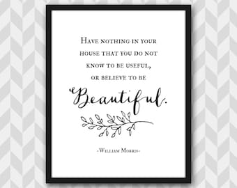 William Morris Quote Art Print, Typography, Inspirational Home Decor