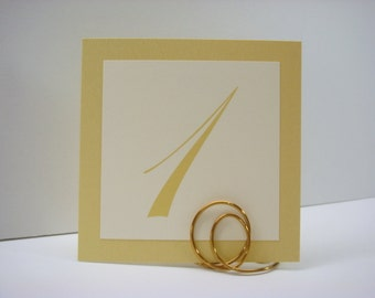 Gold Table Numbers Wedding Decor Shimmery Gold Backing and Script Font Layered Design