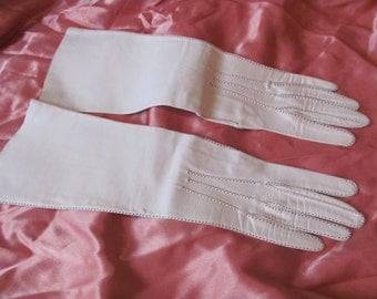 Amazing Antique White Leather Kid Skin Gloves  - 15 Inches Long - Made in France - Unused NOS