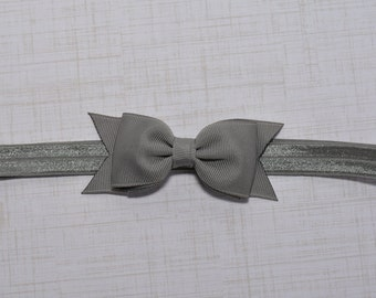 Gray Bow Headband. Gray Baby Headband. Baby Hair Accessories. Baby Girls Hair Accessories. Girls Hair Accessories. Dark Gray. Charcoal