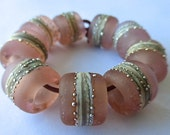 9 Large Hole Hand Made Bead Set by SRA  Sarah Klopping in Transparent Matte Light Rose, Ivory Stinger and Fine Silver