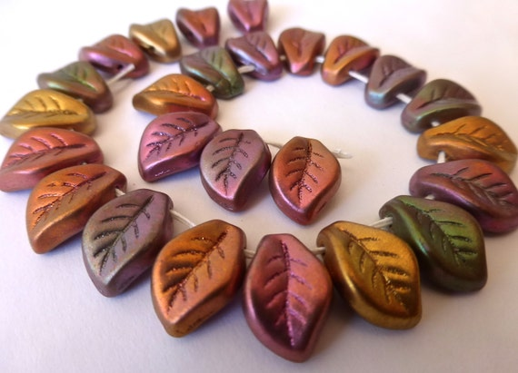 25 Beautiful Rose Gold Copper Metallic Matte Glass Leaves  9x14mm