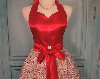 Candy Cane Full Apron Shimmer Organza Christmas Holiday  Hostess Apron
