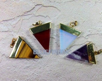 Natural Gemstone Triangle Pendant in different stone with gold cap/Triangle Geometric Pendant