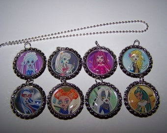 Monster High Party Favors / Monster High Bottle Cap Necklaces / Girls Party Favors