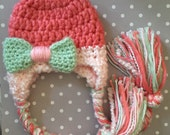 Pink Baby Hat, pink, coral, blush, mint, Hat with earflaps, bow, baby girl hat, newborn, ready to ship, crochet, photo prop, accessory, baby