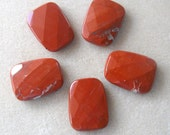 Red Jasper Faceted Trapezoid Gemstone Pendant, Craft Supplies, Focal Bead, Jasper Pendant, Jewelry Making, Jasper