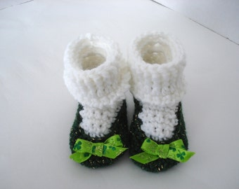 St. Patrick's Day Little Irish Girl Crochet Baby Booties Shoes Emerald Gold Green Ribbon White Socks Clovers Lucky Ireland 0-3 Months Size