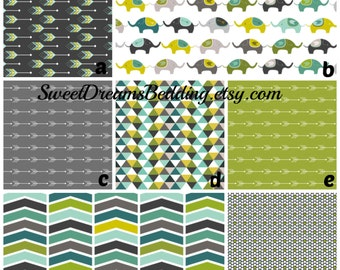 Custom Crib Bedding You Design   Bumper and Bedskirt Elephants green grey