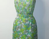 Vintage 1950s Wiggle Dress - Blue and Green Floral Print