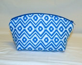 XL Domed Make-Up Bag in Royal Blue and White Southwestern Print