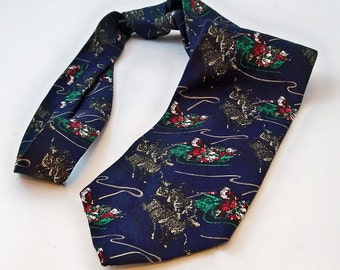 Vintage Ferrell Reed Silk Christmas Tie with Santa on a Sleigh - FREE USA SHIPPING
