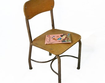 Mid Century Wood and Steel Child's School Chair - Nice Distressed Patina