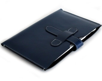 Hand-Stitched iPad MINI in BOX CALF Navy Blue leather