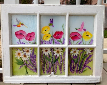 Vintage hand painted window