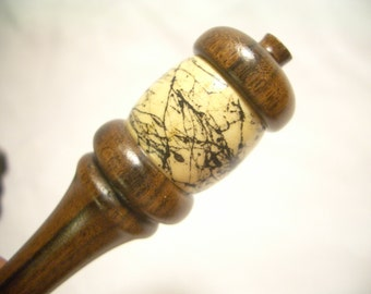 Exotic Rosewood Hairstick with Maple Orb with Texture