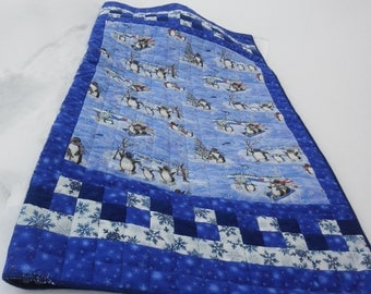 "Child's Quilted Sleeping Bag ""Penguin Paradise"" in Frosty Blues"