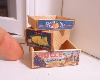 Miniature Dollhouse Wooden Fruit Crates