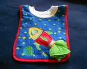 Space Ship with Washcloth, over the head bib