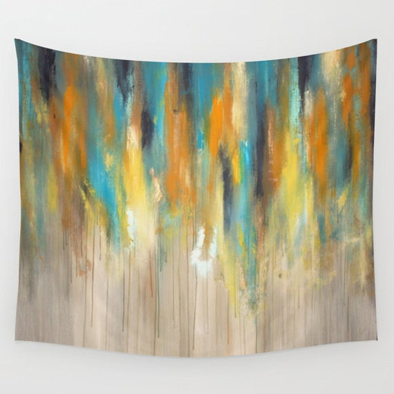 Blue And Yellow Home Decor Wall Tapestry By Lizmosloft On Etsy