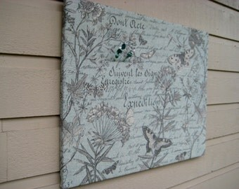 Pin Board with a French script Butterfly print in beautiful blue green made from a high grade upholstery fabric for your french chic decor