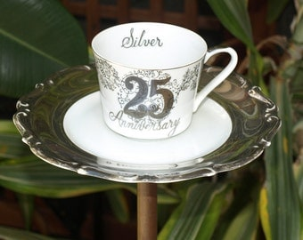 25th nSilver Anniversary Teacup Bird Feeder vintage copper china repurposed seed
