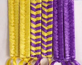 Ribbon Barrette | Louisiana State University, Retro Braided Barrette Set - LSU, Purple and Gold