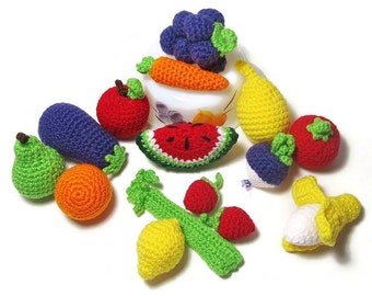 12 Pieces of Crochet Play Food - Crochet Fruits - Crochet Vegetables - Crochet Veggies - Play Kitchen - Montessori Toys