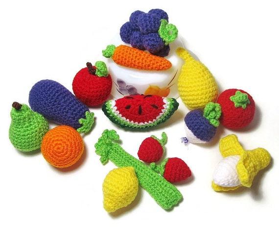 Amigurumi Vegetable Patterns : Items similar to 12 Pieces of Crochet Play Food - Crochet ...
