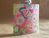 Ready to Ship Spring Break Lilly Inspired Multi-colored Floral and Paisley Print 6 ounce Flask KR2D 7762