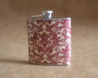 Ready to Ship Red and Cream Damask Print 6 ounce Stainless Steel Girl Gift Flask KR2D 4729